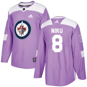 Youth Sami Niku Winnipeg Jets Adidas Authentic Purple Fights Cancer Practice Jersey